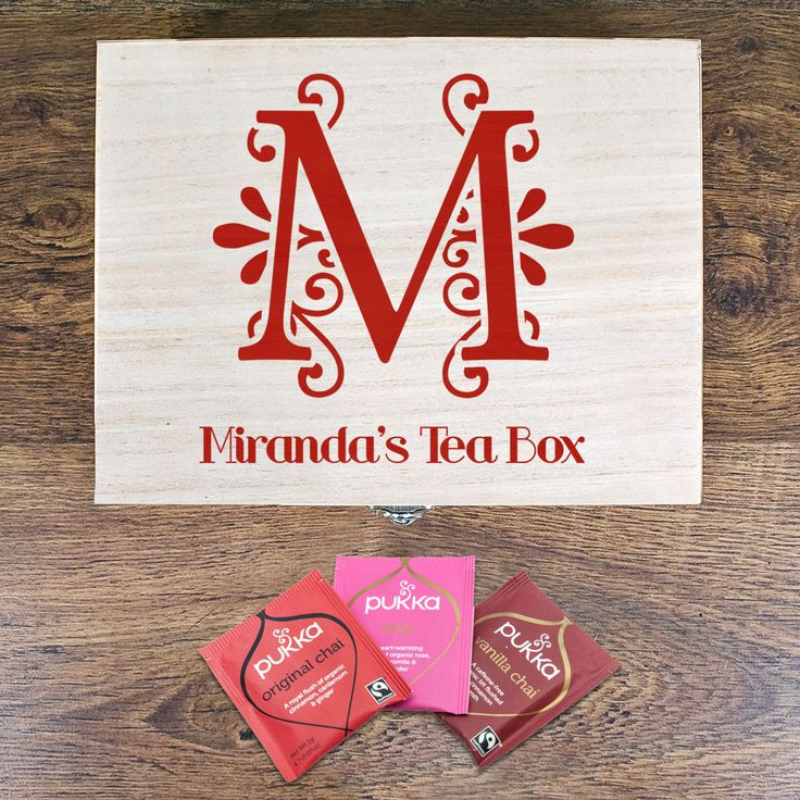 Love Chai Personalised Tea Box - a unique gift for your tea lover this Valentine's. Personalised box with initial, name and message inside lid. Comes with three types of chai tea #valentines day tea lover pukka