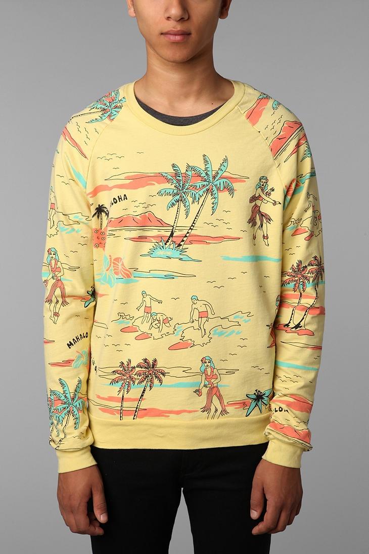 Hawaiian Print Crew Sweatshirt  #UrbanOutfitters