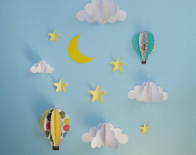 Etiqueta de la pared de globo de aire caliente, papel de arte, decoración de la pared, pared 3D arte de pared, conjunto de calcomanías de pared 3D-3D de la pared decoración arte-vivero