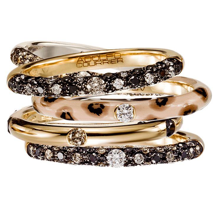 Ювелирные украшения в необыкновенно стильном исполнении. Золотые кольца с бриллиантами, которые потрясающе выглядят самостоятельно, и еще более потрясающе – в общей композиции. Украшение добавит ярких красок в повседневность, обеспечит яркое настроение его владелице. Нотка эксклюзивности – это то, что вам необходимо.