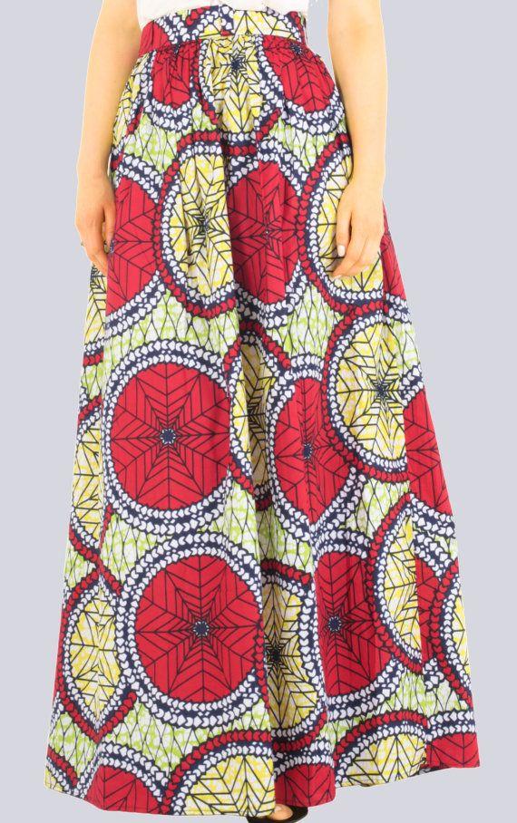 Maxi jupe jupe imprimé Tribal jupe longue jupe par COLUFashion