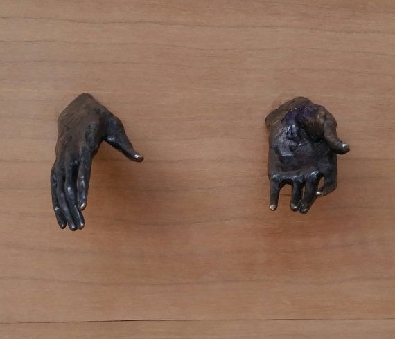 Cabinet and drawer pulls 2 long small bronze hands by smallbronzes
