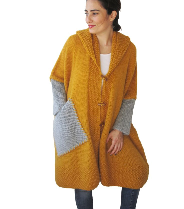 NEW! Plus Size Over Size Yellow Mohair Overcoat - Poncho - Pelerine with Hood and Gray Pocket by afra on Etsy https://www.etsy.com/listing/224772054/new-plus-size-over-size-yellow-mohair