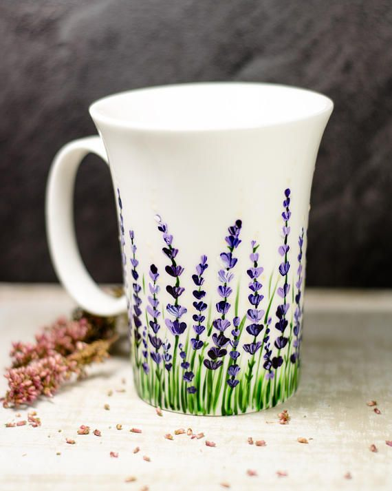 Lavender Coffee Mug Floral Ceramic Cup Personalized Christmas Etsy Painted Coffee Mugs Pottery Painting Designs Ceramic Cups