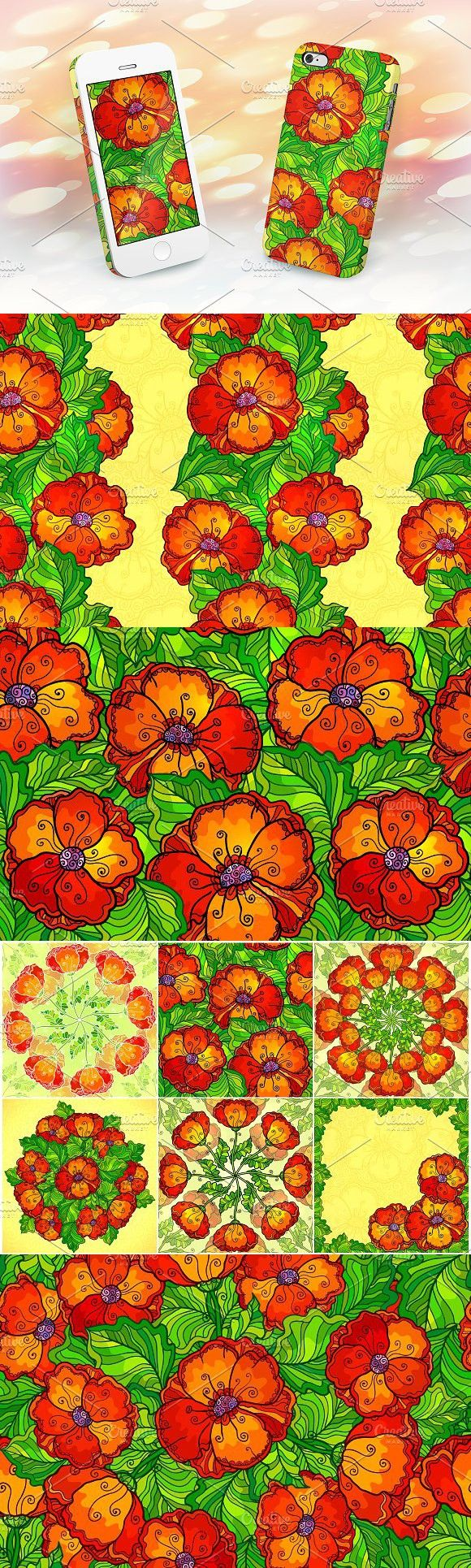 8 red poppy flowers backgrounds. Patterns. $8.00