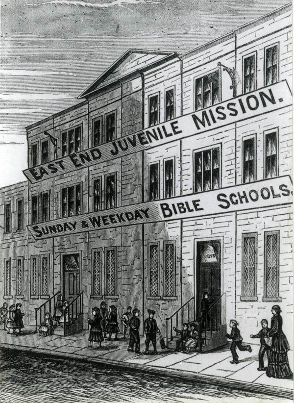 In 1876, Dr Thomas Barnardo purchased these premises, originally constructed for warehouses, from a Scottish provisions company and opened a ragged school as one of forty establishments under his supervision in the East End. Within a couple of years, there were three hundred and seventy pupils daily and two thousand five hundred for Sunday school each week.