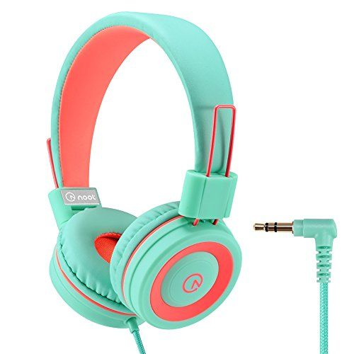 Kids Headphones - noot products K11 Foldable Stereo Tangle-Free 3.5mm Jack Wired Cord On-Ear Headset for Children - Mint / Coral - Warranty We provide a 24-month warranty on all products and easy to reach customer service. Features On-ear earphones has padded cushions that are lightweight and comfortable. Adjustable headband allows you to find the right fit. Foldable for easy and convenient storage. 5 feet nylon braided tang...
