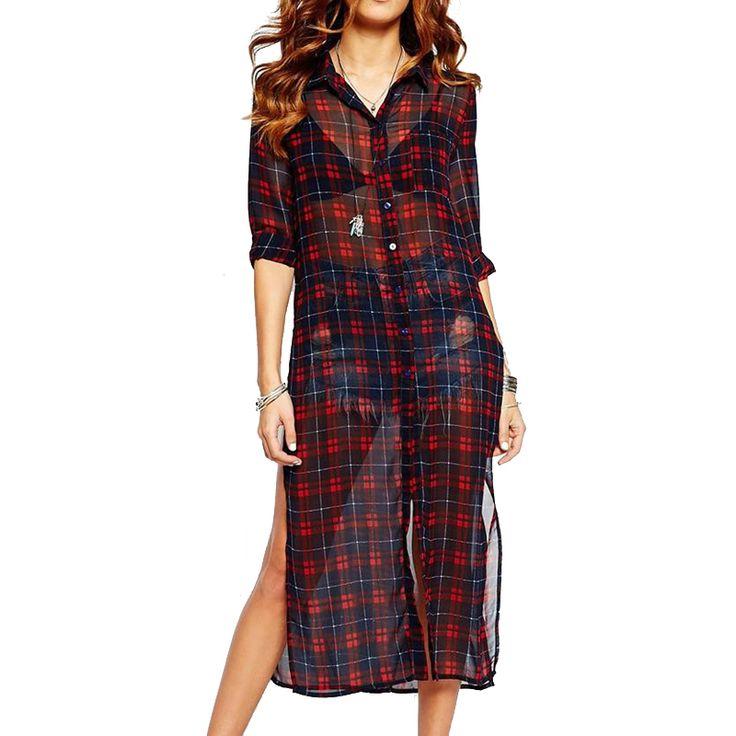 Женщины красный плед с блузки сексуальная сторона сплит с длинным рукавом прозрачный camisas femininas свободного покроя уличная широкий топы LT520купить в магазине Caroline Fashion Store (offer Drop shipping)наAliExpress