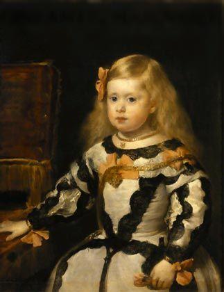Retrato de la infanta Margarita. Diego Velazquez, 1653 - 1654 Museo del Louvre, París. El Louvre conserva un retrato severo y sin concesiones de la reina Mariana, al lado del cual el retrato de la pequeña infanta Margarita, que inspiró a menudo al artista,