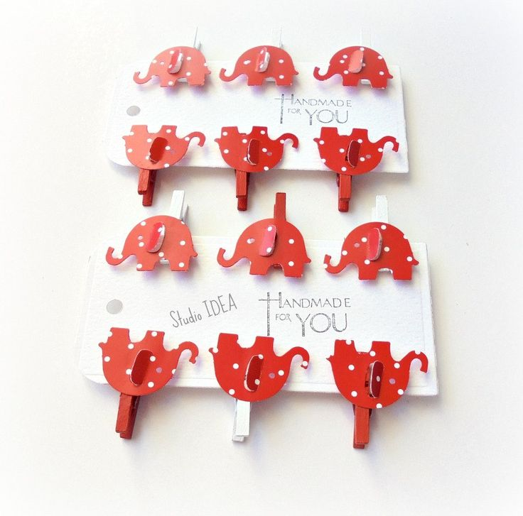 Set of 12 Red & White Mini Clothespins with Red White Polka Dots Elephant Cut out Embellishment - Favor Tags, Gift Tags - Set of 12 pcs by StudioIdea on Etsy
