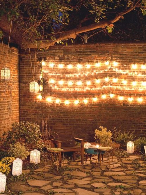 Centsational Girl » Blog Archive » Create an Inviting Outdoor Conversation Area  Excellent lights along the brick wall...i love it.