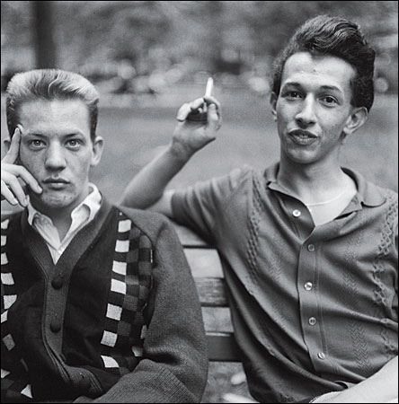 Two Young Men on a Bench, Washington Square Park, NYC, Photo by Diane Arbus