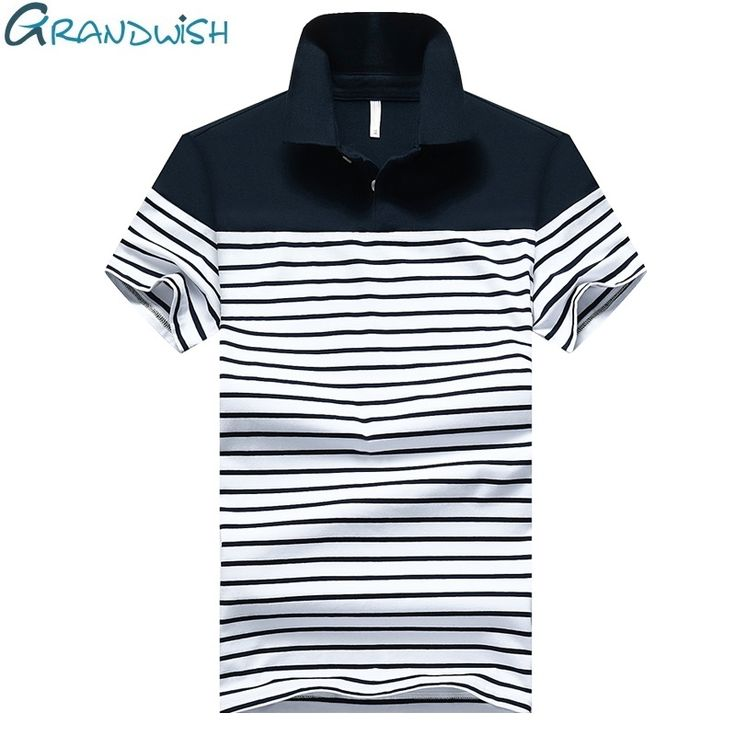 Grandwish Mens Short Sleeve Striped Polo Shirts 95% Cotton New Fashion Style Men Summer Polo Shirts Patchwork Slim Fit ,DA470