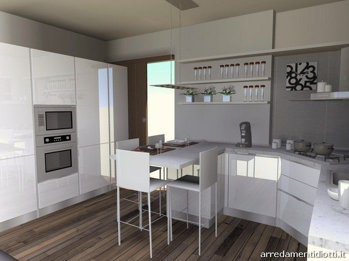 Cucina con penisola e cappa angolare sfera diotti a f for Penisola mobile cucina