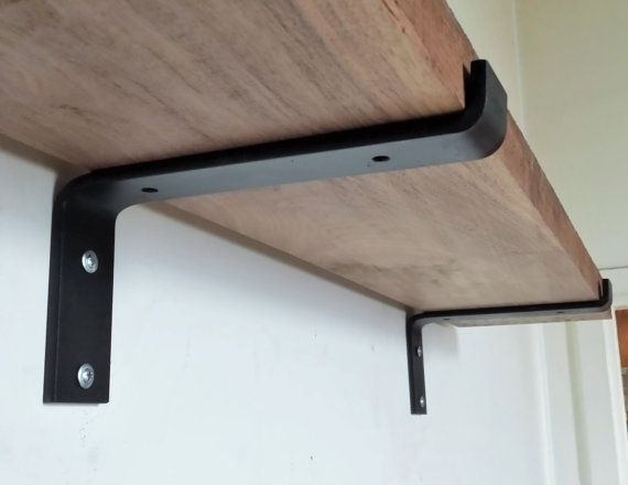 "4"" Industrial Light Loads Shelf Brackets. Black Iron Brackets. Hand Forged Metal. Shelf Brackets*"