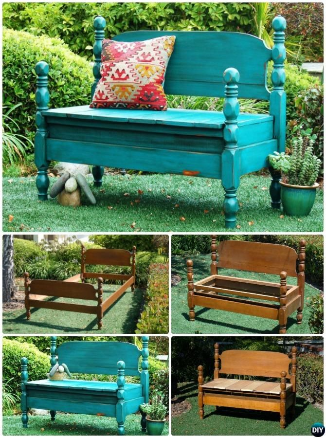 8 DIY Bed Frame Garden Bench Projects [Picture