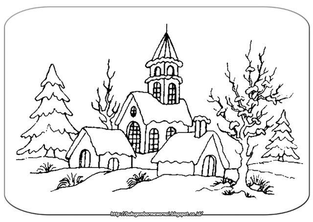 Gambar Mewarnai - Mewarnai Gambar Pemandangan Musim Dingin.   Gambar di atas adalah gambar mewar...