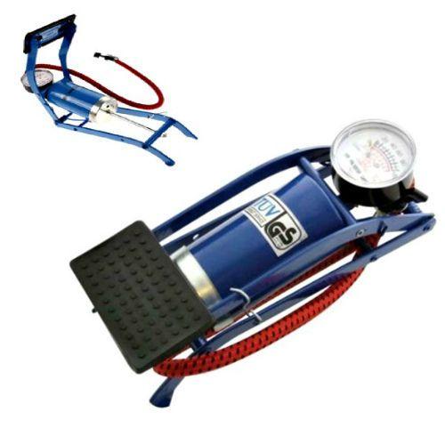 Foot Pump Single Barrel Cylinder Portable Car Bike Van Air Inflator Tyre Gauge #Unbranded #Portable