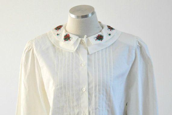 Vintage 80s White Ladies Shirt Tuxedo Front by PelhamRoadVintage