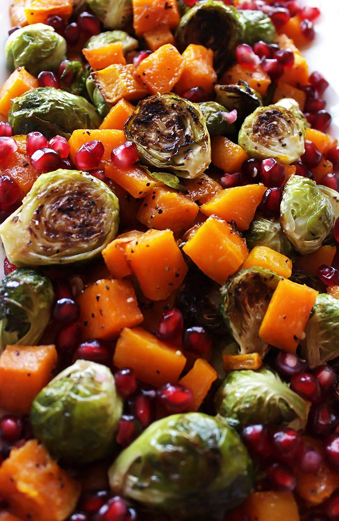 Robust Recipes | Roasted Butternut Squash and Brussels Sprouts with Pomegranate | http://robustrecipes.com