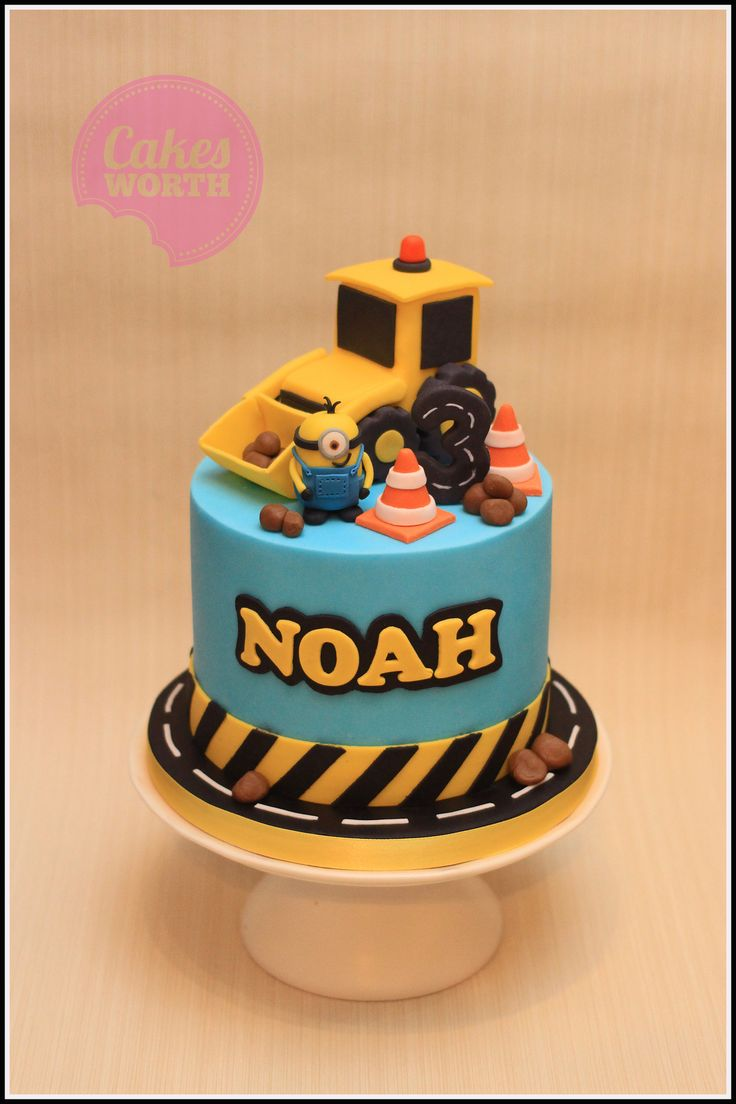 Roadwork themed birthday cake with edible digger cake topper. x