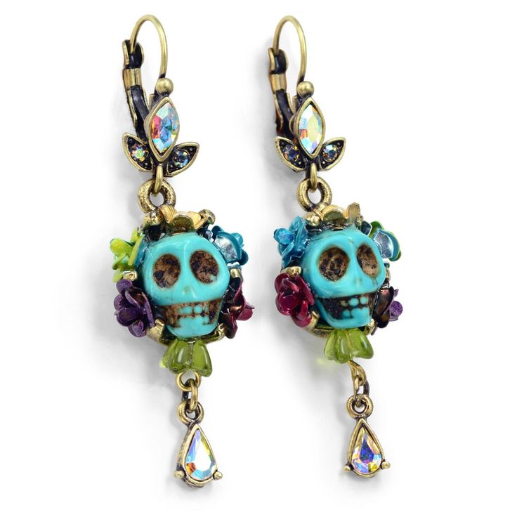 Turquoise SKULL QUEEN Earrings - SWEET ROMANCE Ollipop SKULL Day of the DEAD Earrings