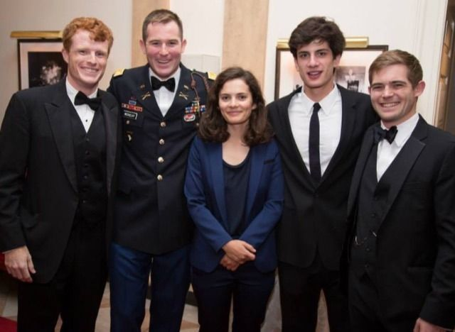 At a Profiles in Courage event, left to right, Joseph P. Kennedy III, Christopher McKelvy (Sydney Lawford McKelvy's son), Rose Schlossberg, Jack Schlossberg and Peter McKelvy.