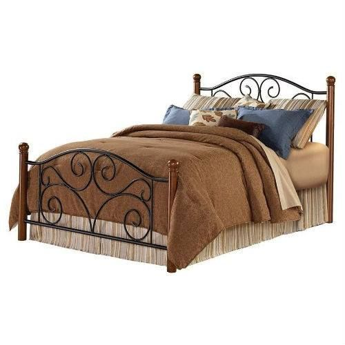 King size Dora Metal and Wood Bed with Headboard and Footboard This is our bed frame...can't wait to paint it
