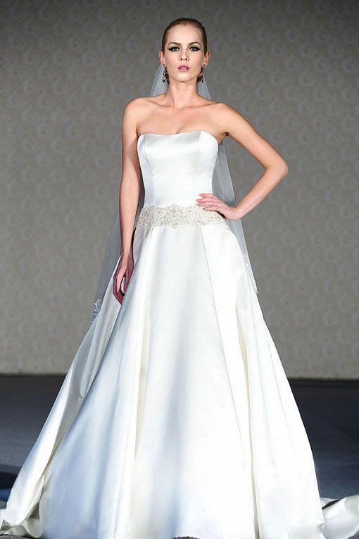 A-line strapless sweep / brush train  glamorous satin wedding dress