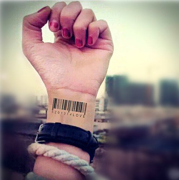 1 Set True Love Barcode Temporary Tattoo Fake By
