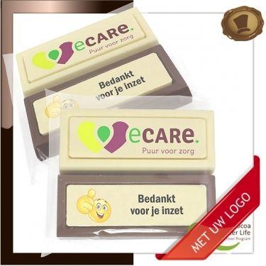 Choco blokken per 2 stuk  Bedankt voor je inzet. Lekkere chocolade voorzien van een logo # chocolade met logo # relatie geschenken # promotie chocolade