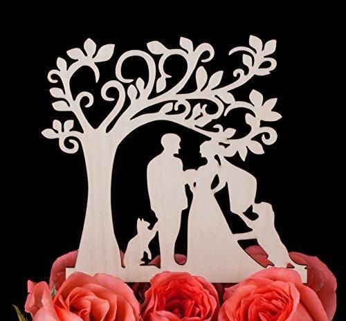 LOVENJOY Gift Box Pack Bride and Groom with Dog and Cat Silhouette Tree Wedding Engagement Cake Topper Rustic Wood (4.9-inch)