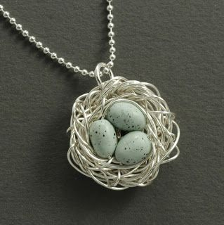 bird's nest necklaces...MOPS craft for spring?  Done these before, pretty easy