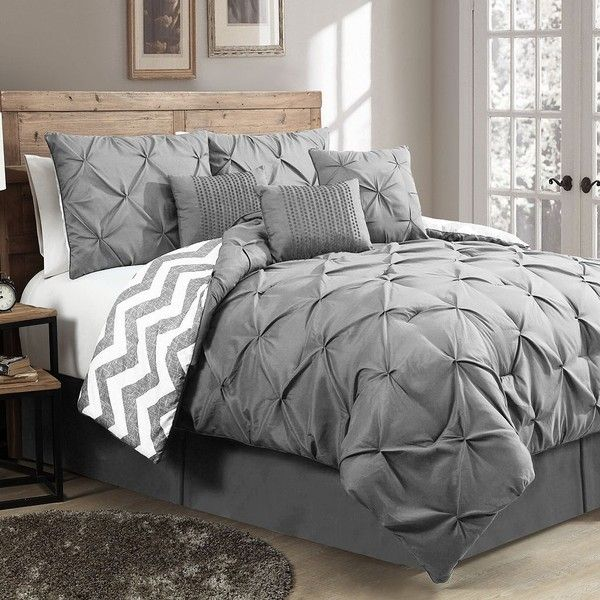 Ella Pinch Pleat 7-pc. Reversible Comforter Set (Grey) ($125) ❤ liked on Polyvore featuring home, bed & bath, bedding, comforters, grey, queen comforter set, king comforter, gray chevron comforter, king size comforter set and grey king size comforter set