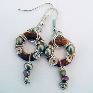 Pearls and Swirls Earrings - Copper , Sterling Silver and Pearls