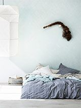 Feather Quilt Covers Stone Blue - King - Bed Linen