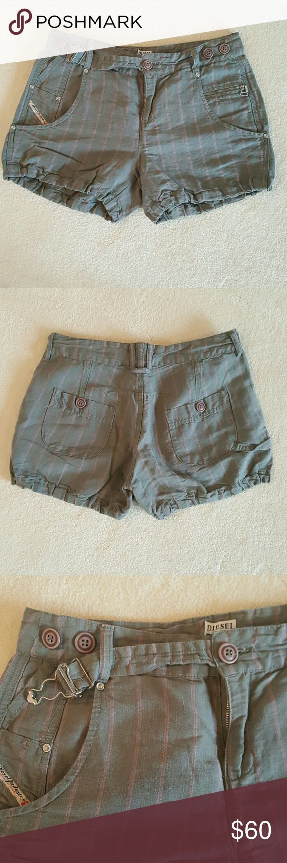 Worn once! The cutest little diesel linen shorts! Worn once, these are so cute and comfy for summer gray with pink stripes and a cool little belt attached seen in 3rd pic. Sad to part with them, they just dont fit anymore. Diesel Shorts Bermudas