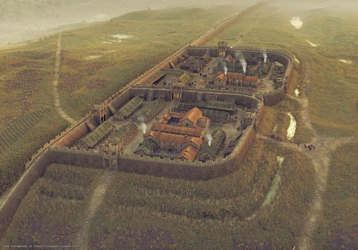 Шикарная графическая реконструкция римского форта от Боба Маршалла. Форт находился на валу Антонина в современной Шотландии. Дата постройки форта 143 г. н.э.