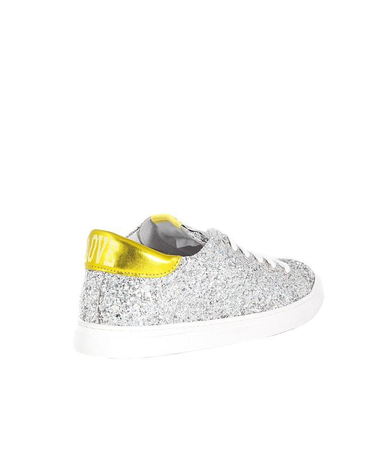 SHOP ART Silver sneakers  super love  rubber sole lace-up closure