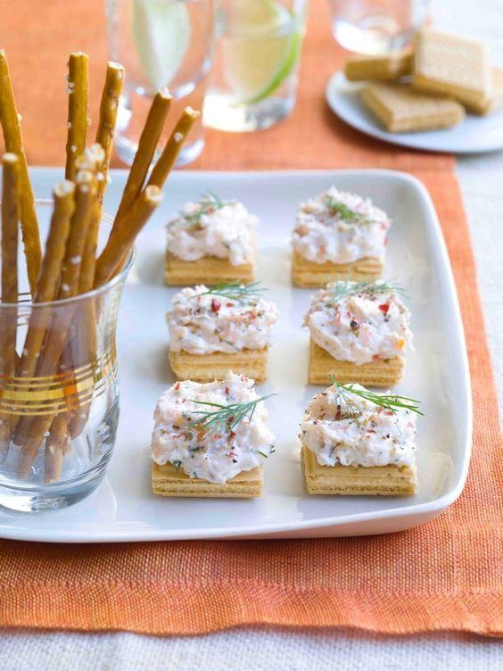 Bouchées de gaufrette au saumon façon cheesecake
