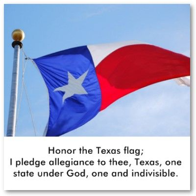 Honor the Texas flag; I pledge allegiance to thee, Texas, one state under God, one and indivisible