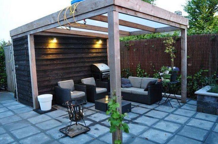 Lariks houten terrasoverkapping, vrijstaand