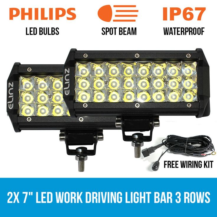 """2x 7"""" LED Work Driving Light Bar Philips Spot Offroad 3 Rows 12V 24V 4WD Truck"""
