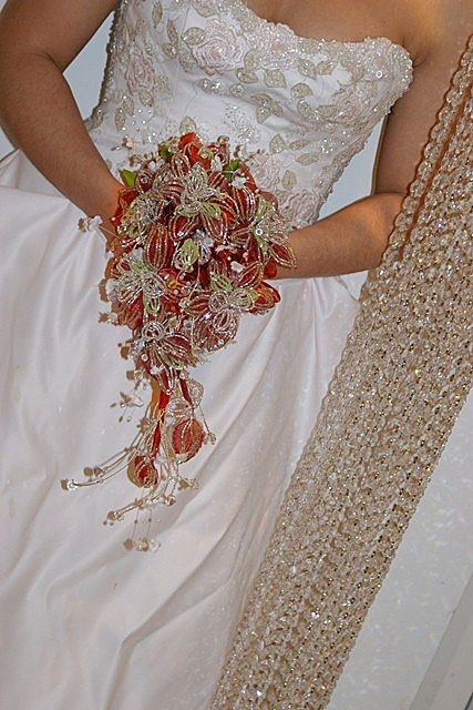 bead flower wedding bouquet french