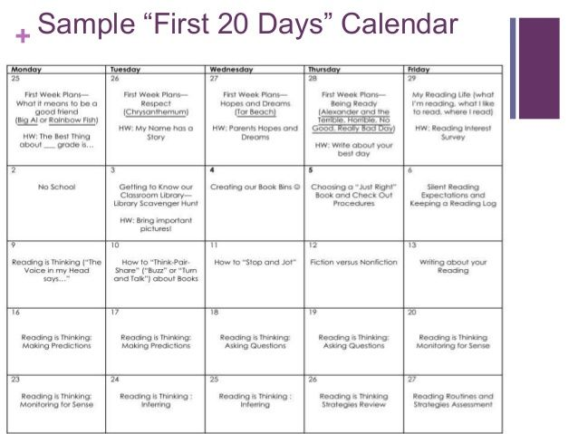 "+ Sample ""First 20 Days"" Calendar  Readers Workshop"