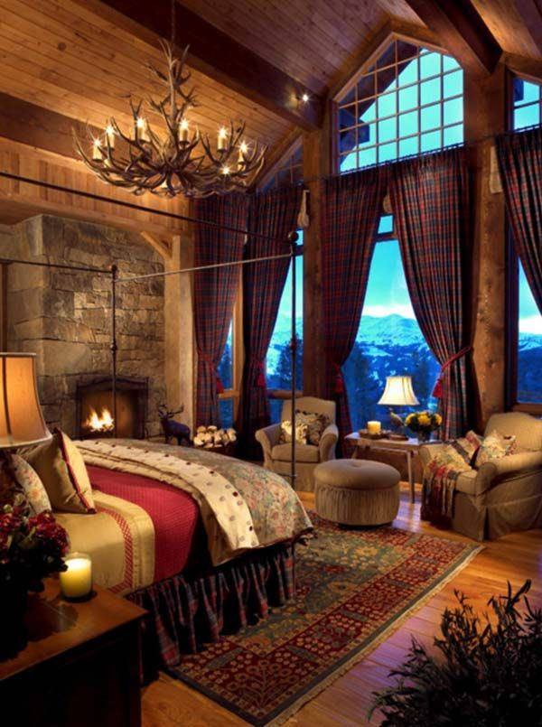 Rustic Cabin Bedroom - love the deep reds and the mountain views.