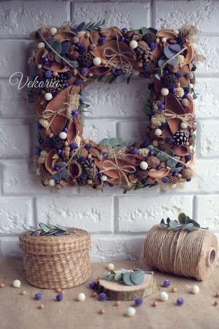 "Vekoria.Handmade decor for home: Квадратный венок ""Голубика"""