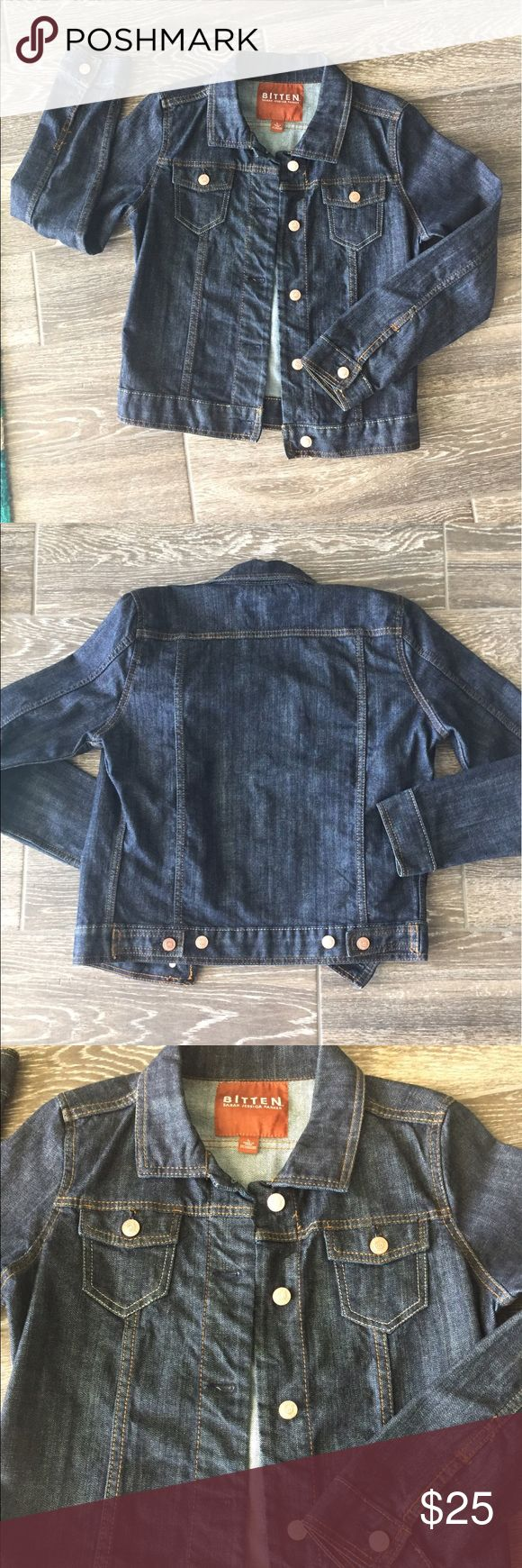 Bitten denim jacket by Sarah Jessica Parker Dress this dark wash denim jacket up or down. Jacket by Bitten which is SJP's line. EUC. PLEASE NOTE, tag says large but this is a small fit! I'm usually between small and medium and it's snug on me.   :( Bitten by Sarah Jessica Parker Jackets & Coats Jean Jackets