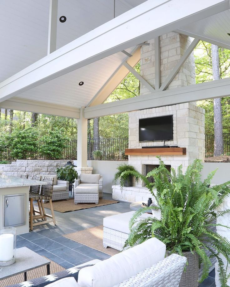 Outdoor Kitchen And Pool House. High Pitched Roof, Store