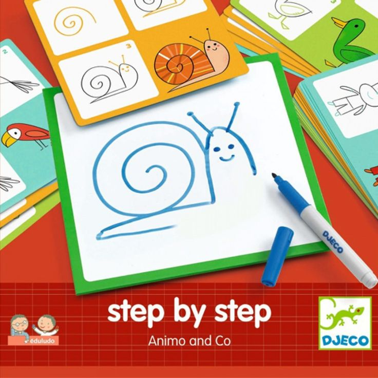 tekenkaarten step by step dieren djeco | ilovespeelgoed.nl
